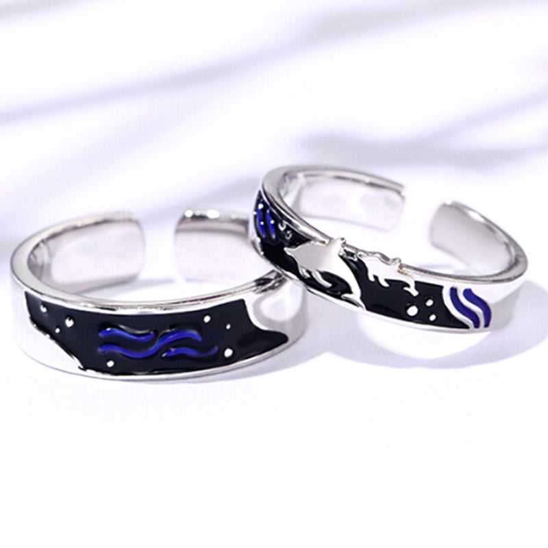 Fashion Enamel Plate Silver Sea And Fish Ring Romantic Couples Jewelry Gift
