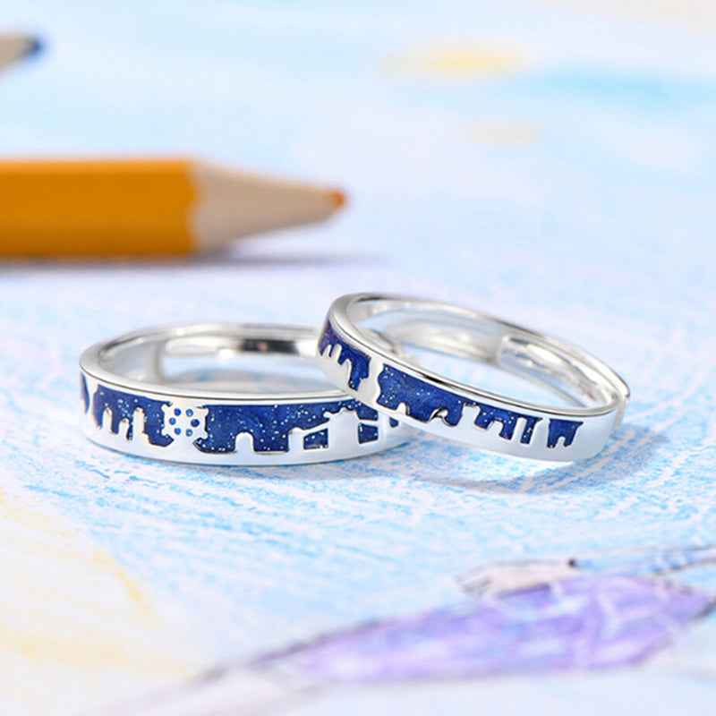 Fashion Enamel Cartoon City Building Romantic Couples Statement Jewelry Gift