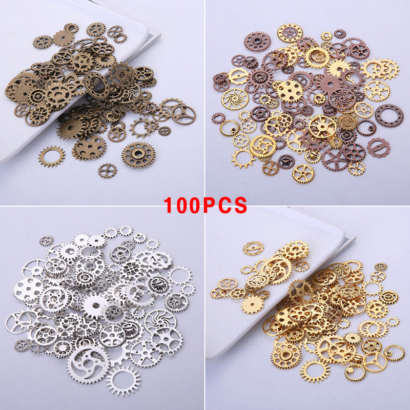 100Pcs/Set Mixed Vintage Metal Gear Charms Pendants DIY Handmade Making Jewelry