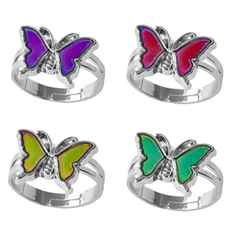 Mood ring band color changing by temperature ajustable butterfly