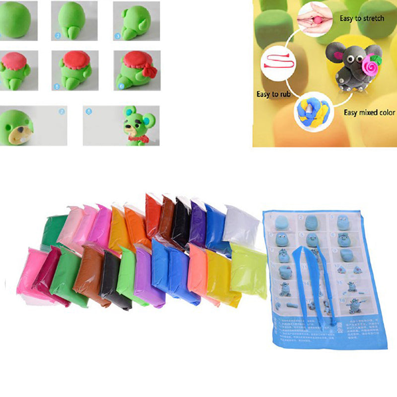 24Pcs Various Kids Diy Malleable Polymer Modelling Soft Clay Blocks Plasticine