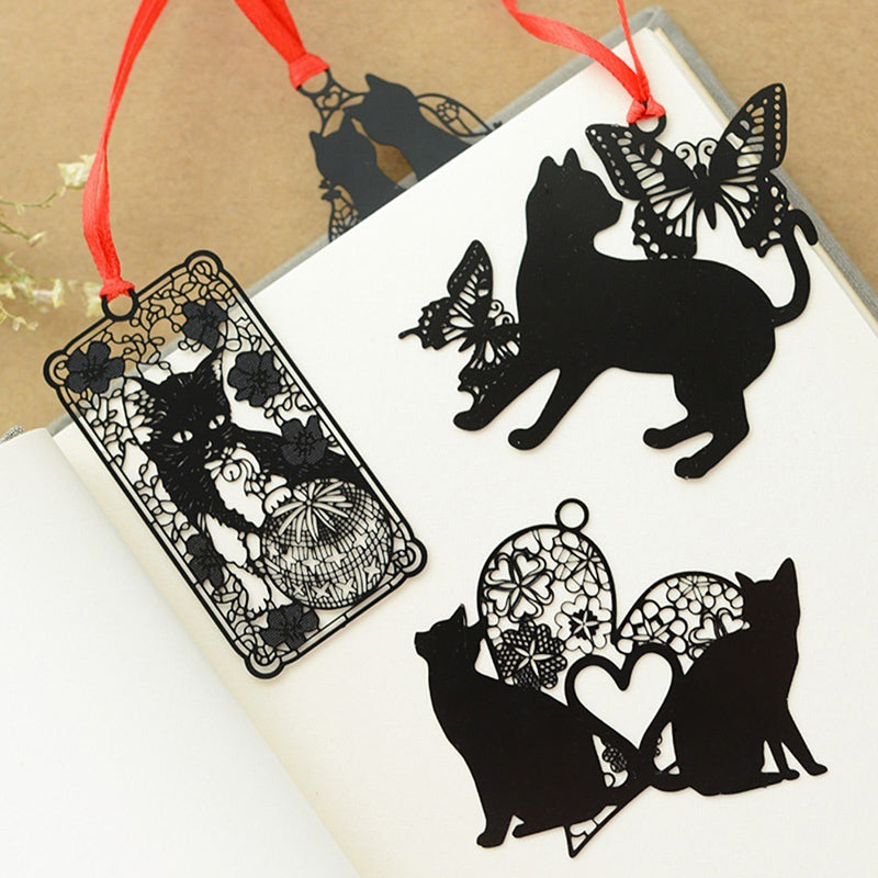 2Pcs Cute Black Cat Metal Hollow Bookmark Holder Paper Marker Stationery Supplie