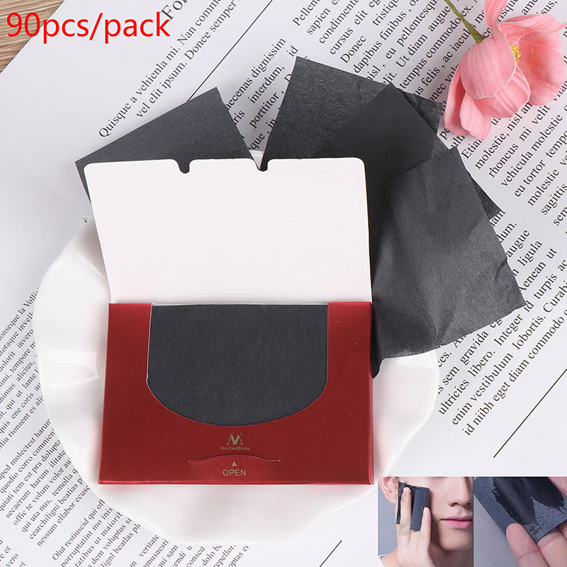 90Pcs/pack Bamboo Charcoal Oil Blotting Sheet Paper Oil Control Tissue Portable