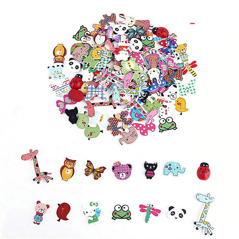 50Pcs Mixed DIY Wooden Popular Scrapbooking Buttons Cartoon Sewing Animal Craft