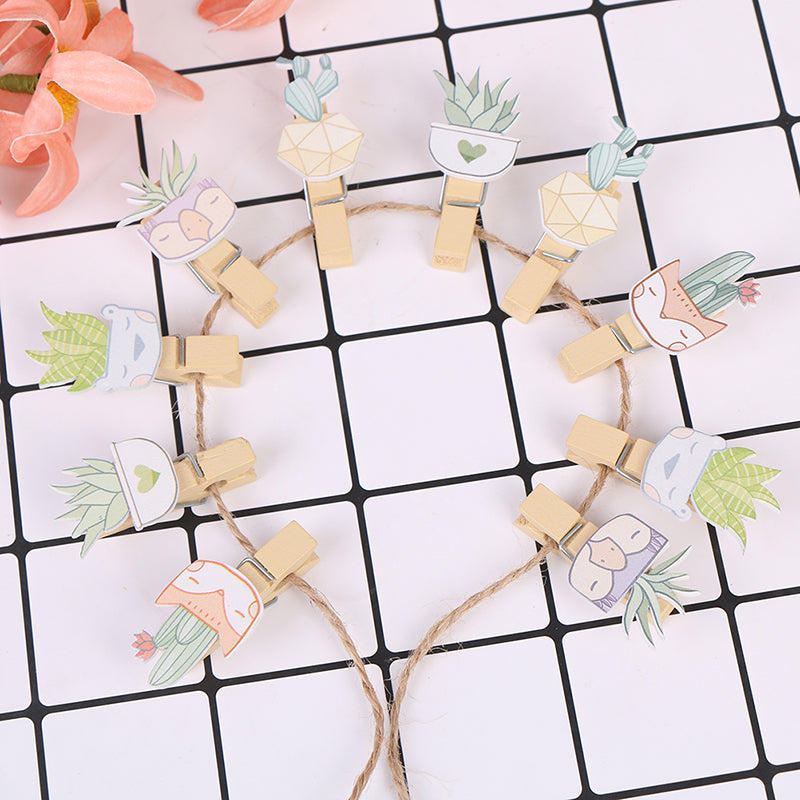10pcs Cactus Wooden Clip Wedding Wood Clip Cute Photo Wall Clip