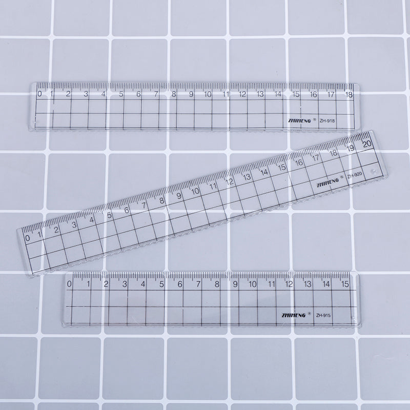 Transparent Plastic Straight Ruler Measurement Scale Tool Student School Supply