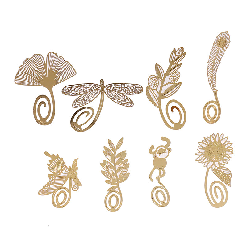 1PC Gold Metal Bookmarks Butterfly Dragonfly flower Designs Book Marks