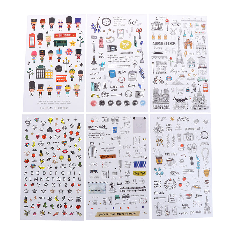 6 pcs/pack European Travel Paper Sticker Diary Scrapbooking Label Sticker