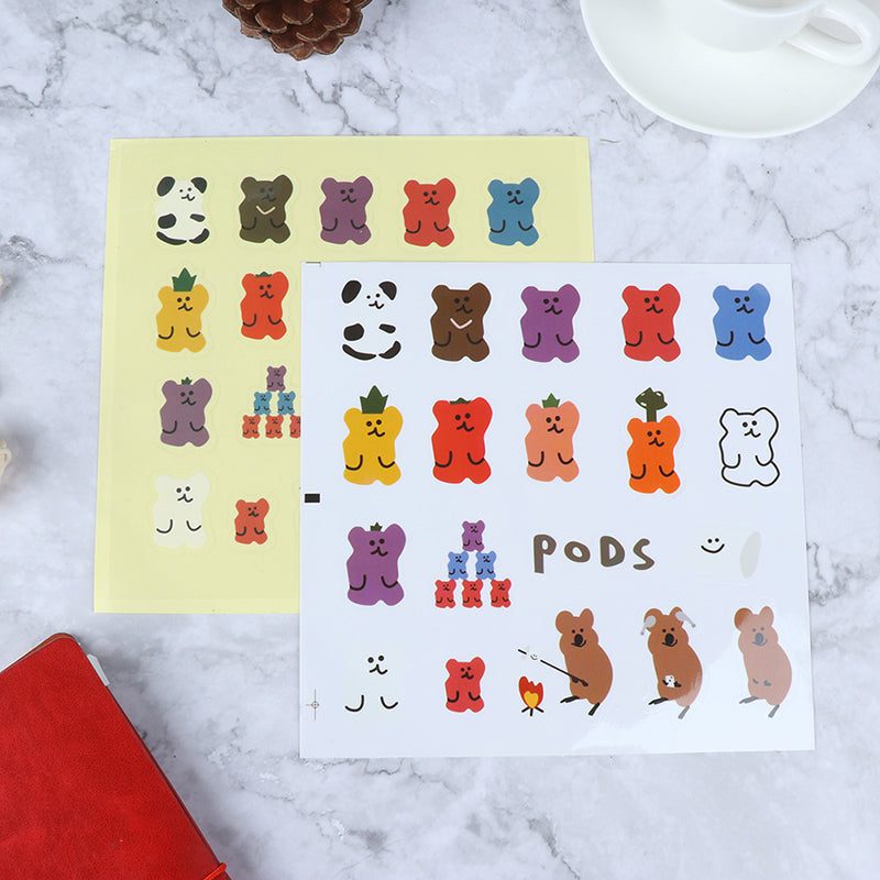 Cute Soft Bear PVC Decor Stickers Scrapbooking Label Diary Album Stickers
