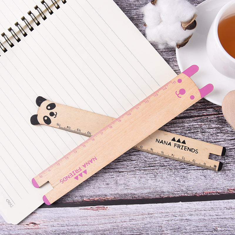 1X Cute Animal 15cm Wood Ruler Stationery Sewing Ruler Office School Accessories