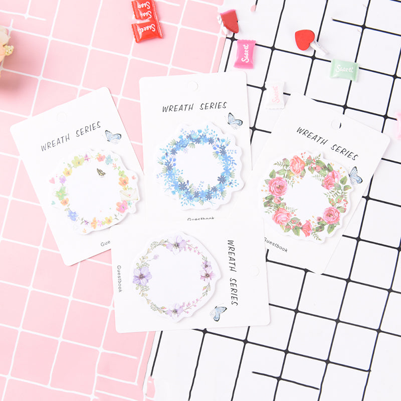1Pc Kawaii Flower Wreath Sticky Notes Post DIY Memo Pad Office&School Supplies