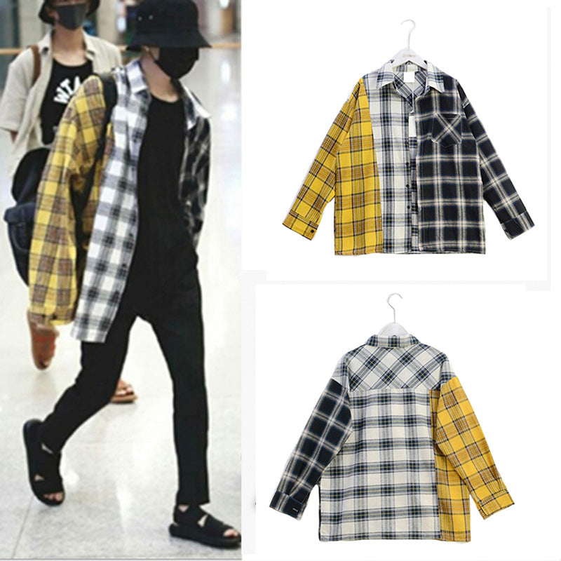 Blouse SUGA Shirt Korea Fashion Spring Colorblock Plaid Shirt