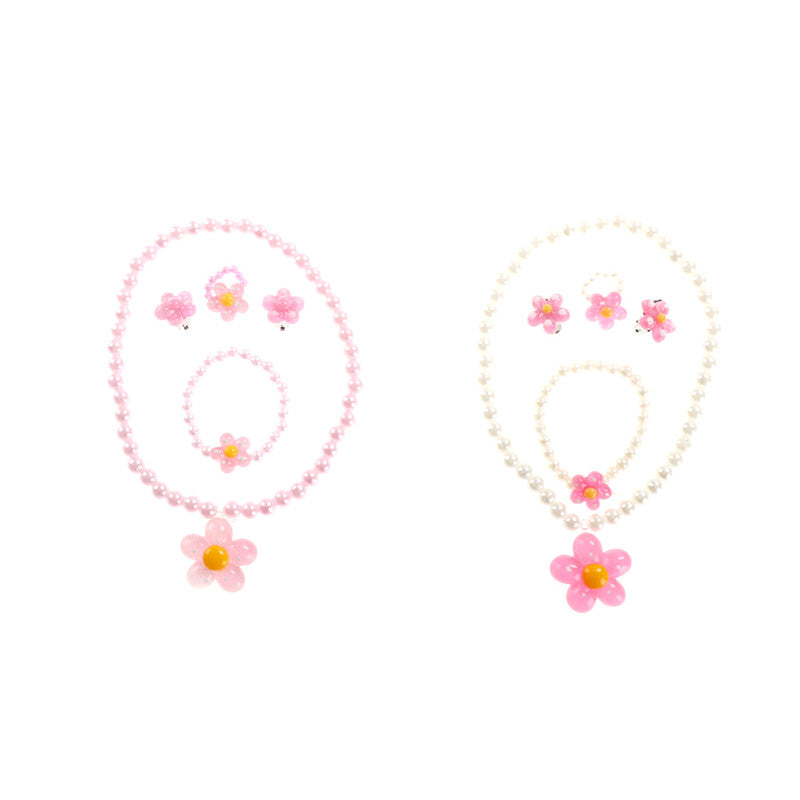 4Pcs Kids Necklace Girls Princess Flower Pearl Beads Bracelet Ring Party Gift