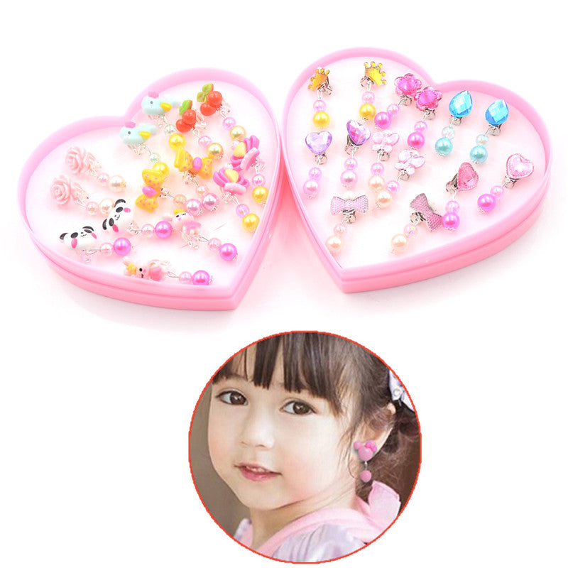 7Pairs Creative Lovely Acrylic Earrings Clip-On No Pierced Design For Children Girls Gift