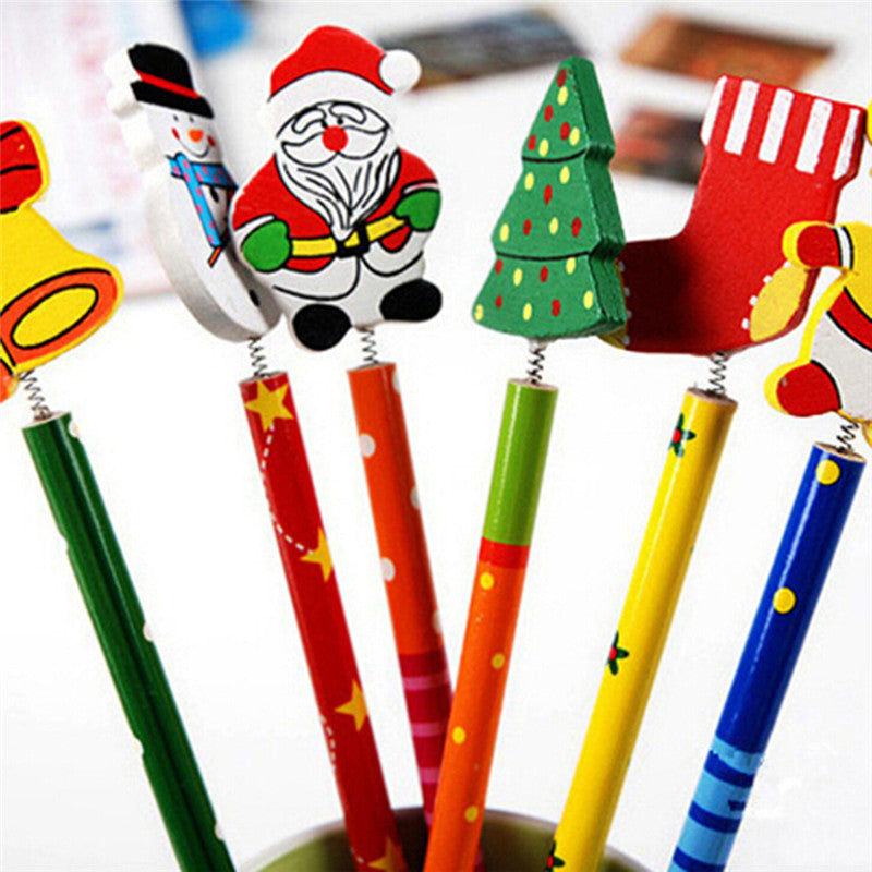 2Pcs Korean Wooden Merry Christmas Student Writing Pencil Office Stationery Gift