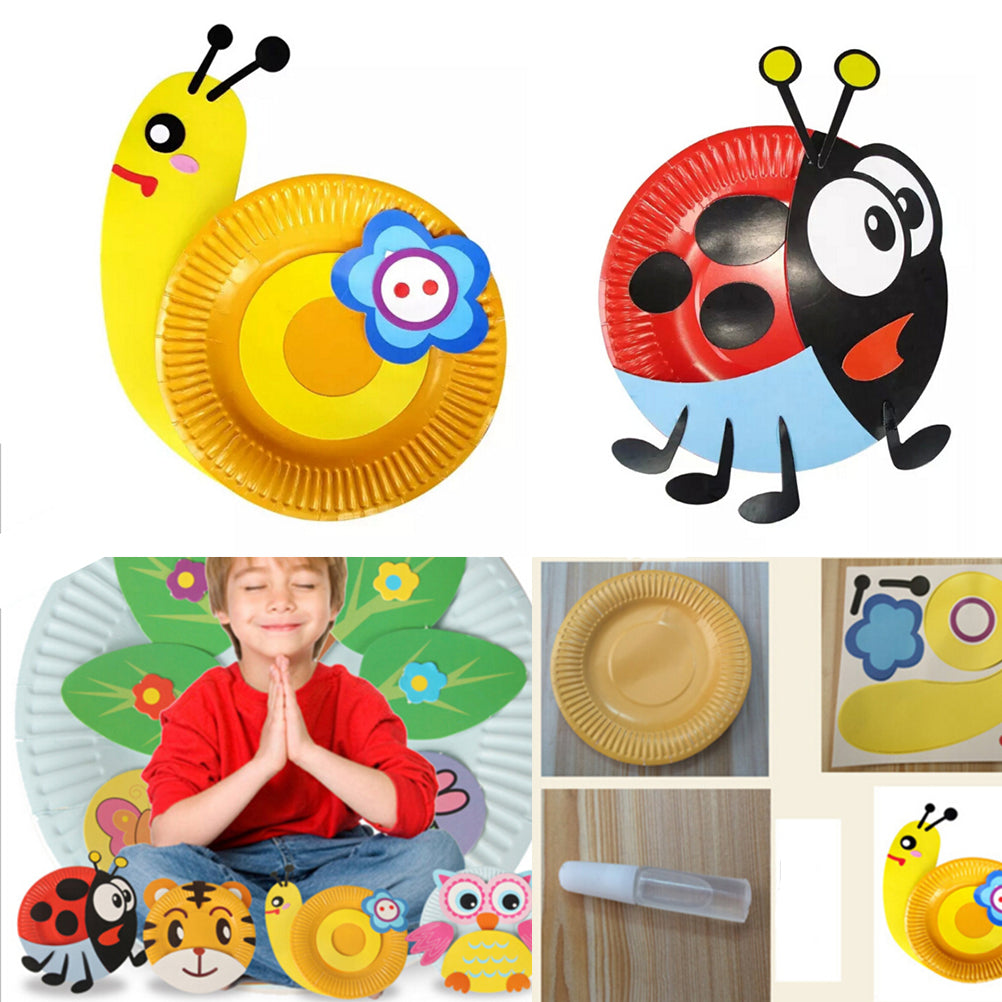 1pcs Paper Plate DIY Toy Gift Creat Draw Sticker Hand Work Game Cute Animal