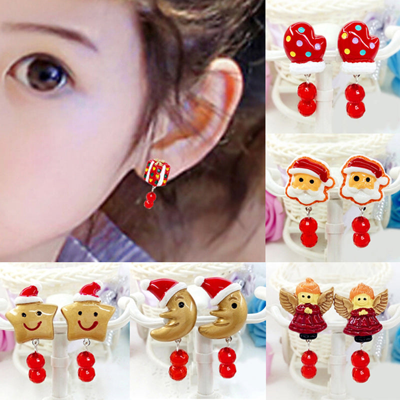 Lovely Girl Kids Lady Christmas Earrings Clip on No Ear Piercing Party Supplies