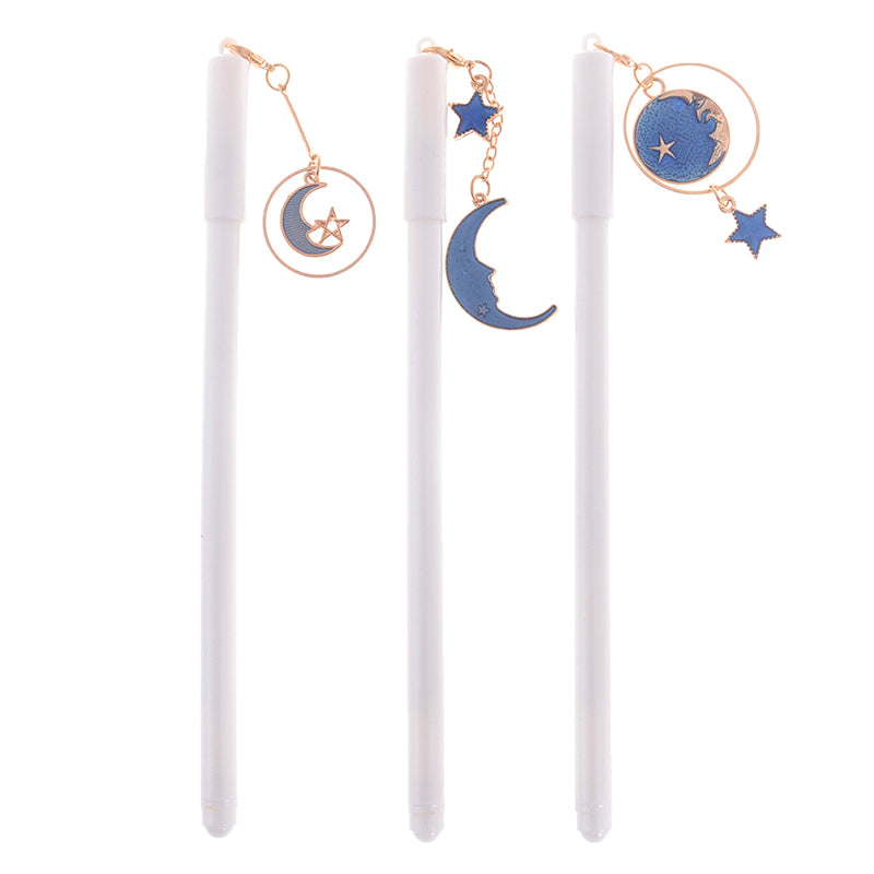 0.38mm Starry Sky Star Moon Pendant Gel Pen Kawaii Stationery Black Ink Pen Gift