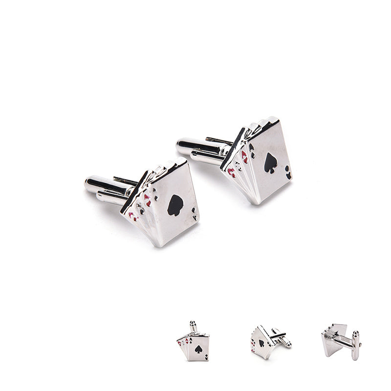 Men Stainless Steel Silver Rectangle Cufflinks Poker Ace Wedding Gift Cuff Links