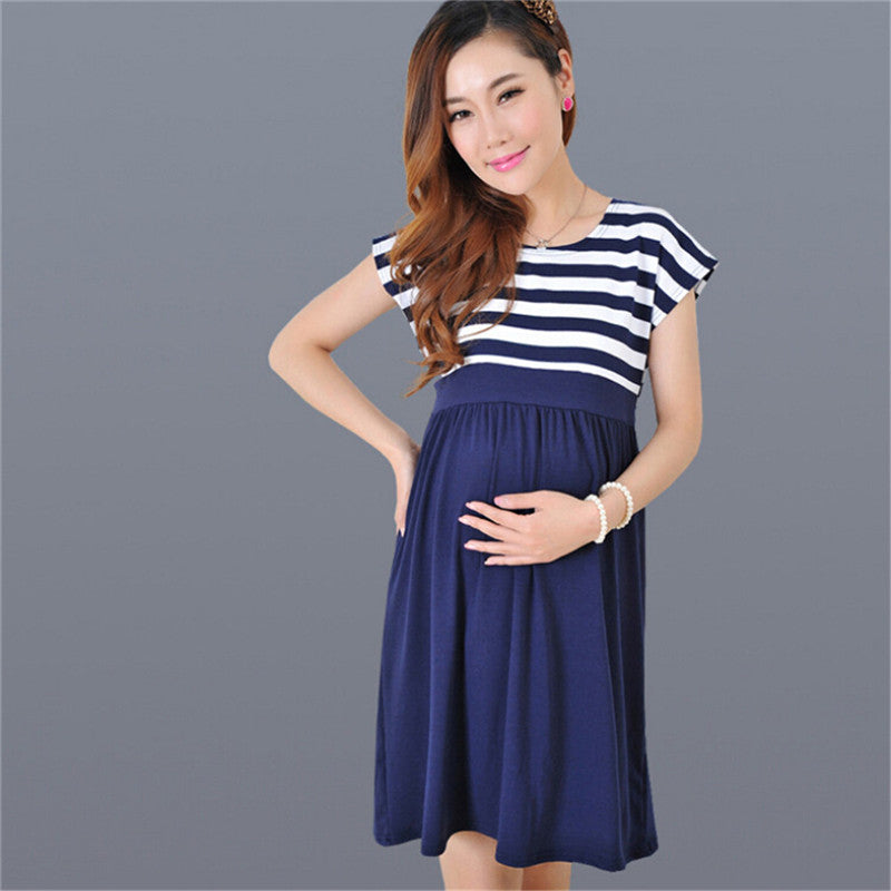 Stripe Pregnant Women Dress Short Sleeve Casual Maternity Dress Mother Clothes