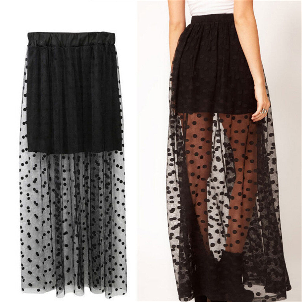 Women High Waist Sheer Gauze Mesh Tulle Lace Dots Gothic Long Maxi Skirt Dress
