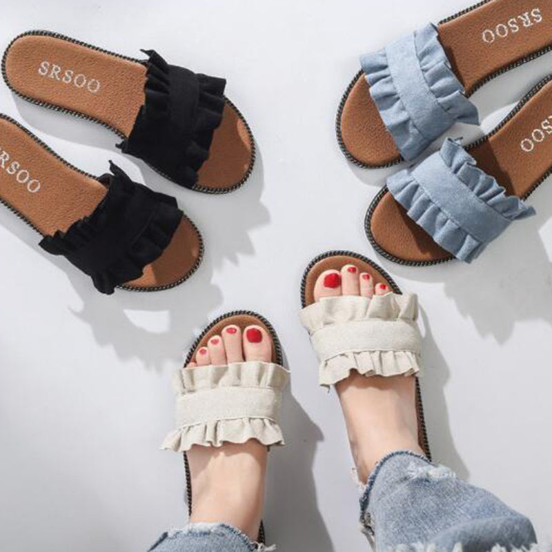 Summer Women's Denim Canvas Flat Shoes Casual Ship-on Slipper Sandal
