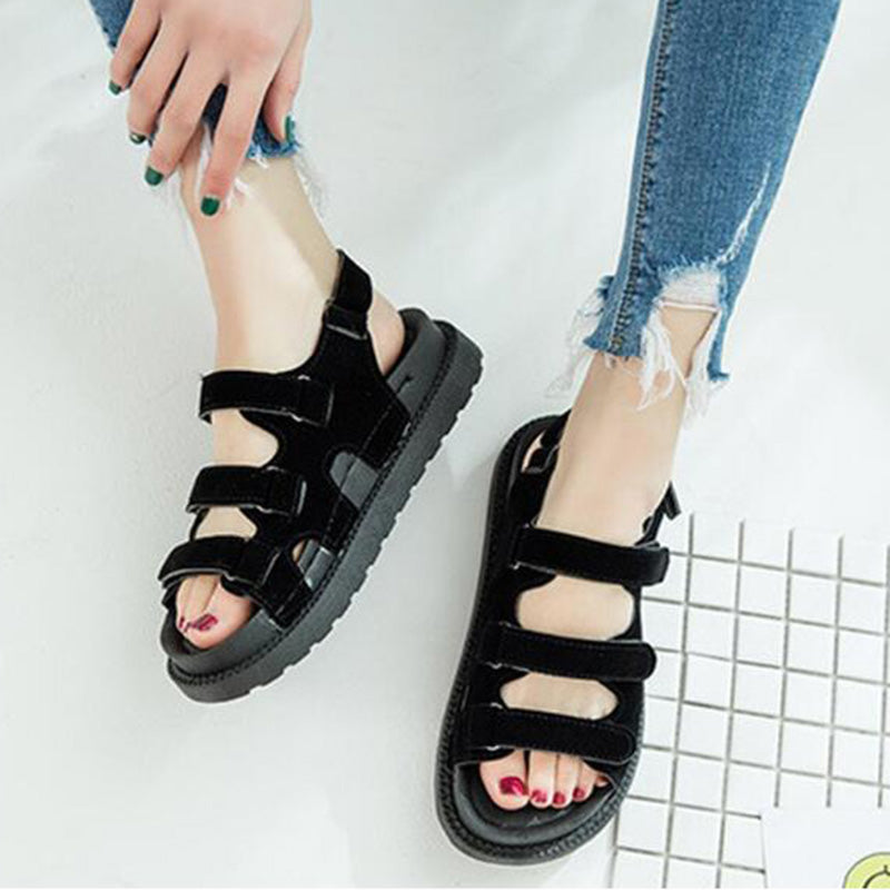 Korean Style Student Velcro Sandal Women Casual Flat Shoes