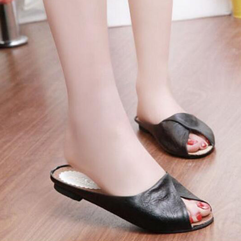 Women Slippers Soft Leather Peep Toe Sandals