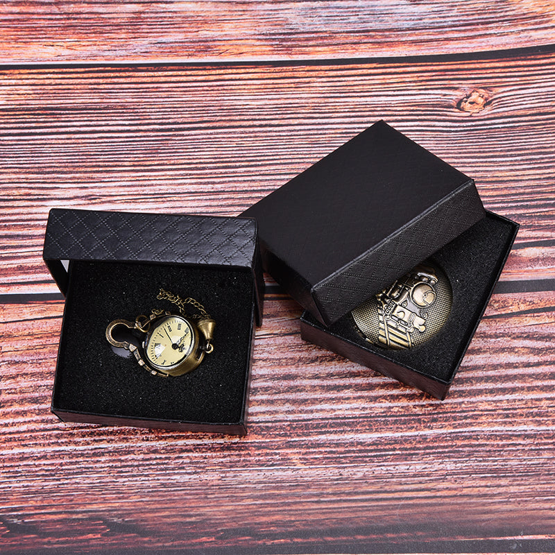 1pc simple pocket watch box case black cardboard cases gifts watch leather box
