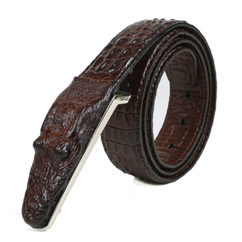 Crocodile Pattern Men Leather Belt Middle-aged Fashion Business Casual Waistband
