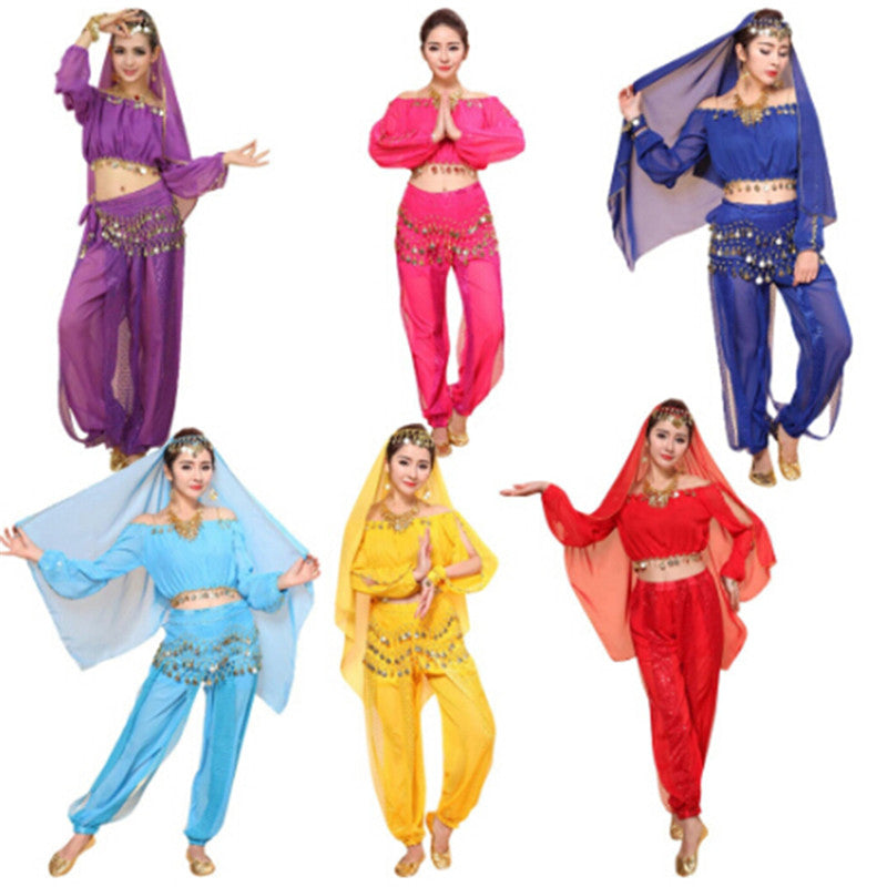 Women's Belly Dance Costumes Set Indian Dancing Dress Clothes Top Pants Colorful