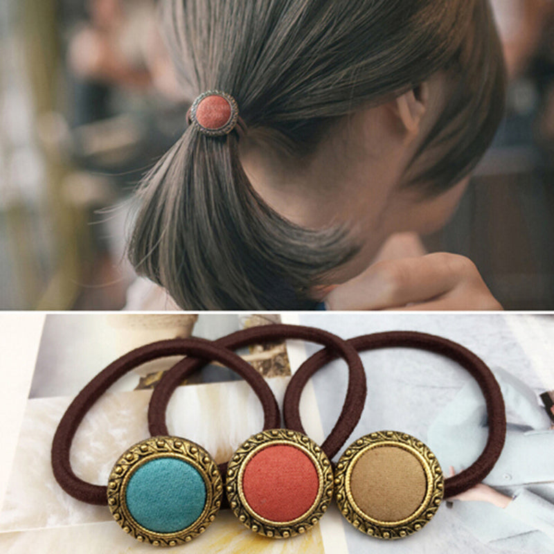 2pcs Retro Cloth Button Hair Holders Rubberband Elastics Girl Hair Accessories