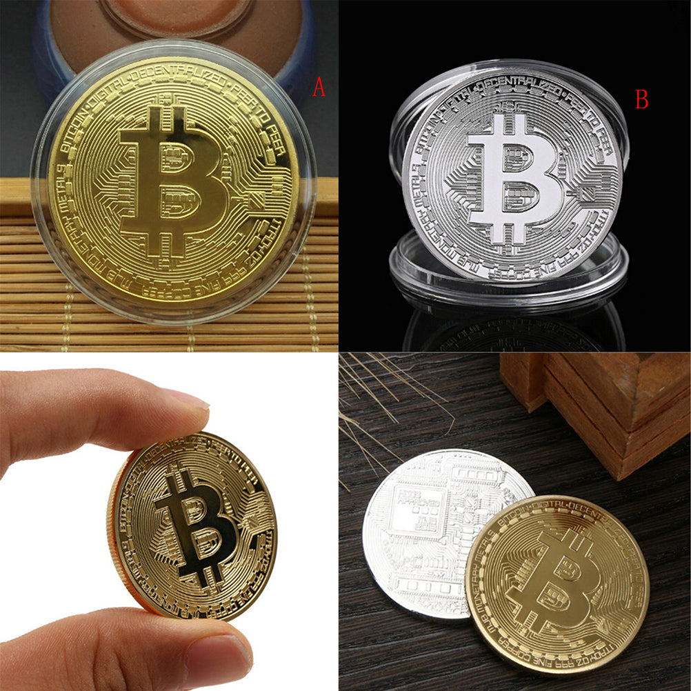 Gold Bitcoin Commemorative Round Collectors Coin Bit Coin Silver Plated Coin