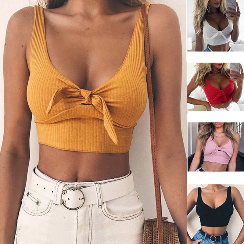Women Sexy Bustier Tops Sleeveless Casual Slim Tanks Solid Pure Color Crop Tops