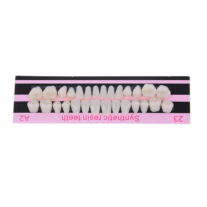 28Pc 1set denture acrylic resin full set teeth upper lower shade 23# A2 dental