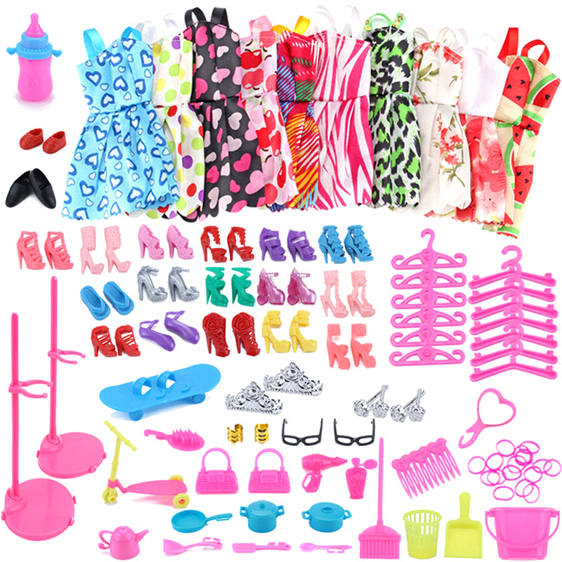 Dolls Dress Up Clothes Dresses Minidress Accessories Party Wear For Barbie Doll