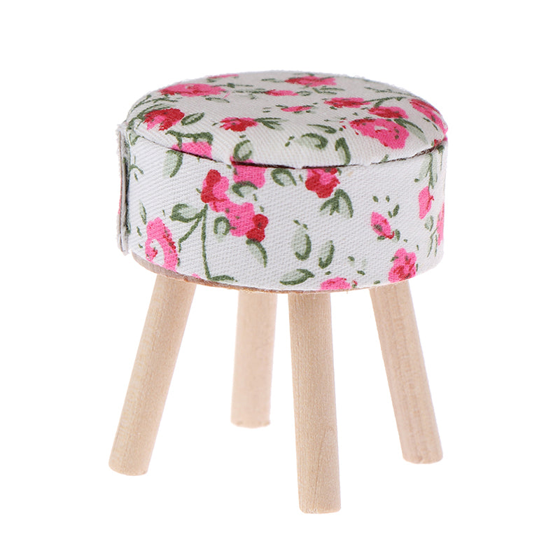 1:12 Dollhouse miniature furniture round floral stool for dolls house decor
