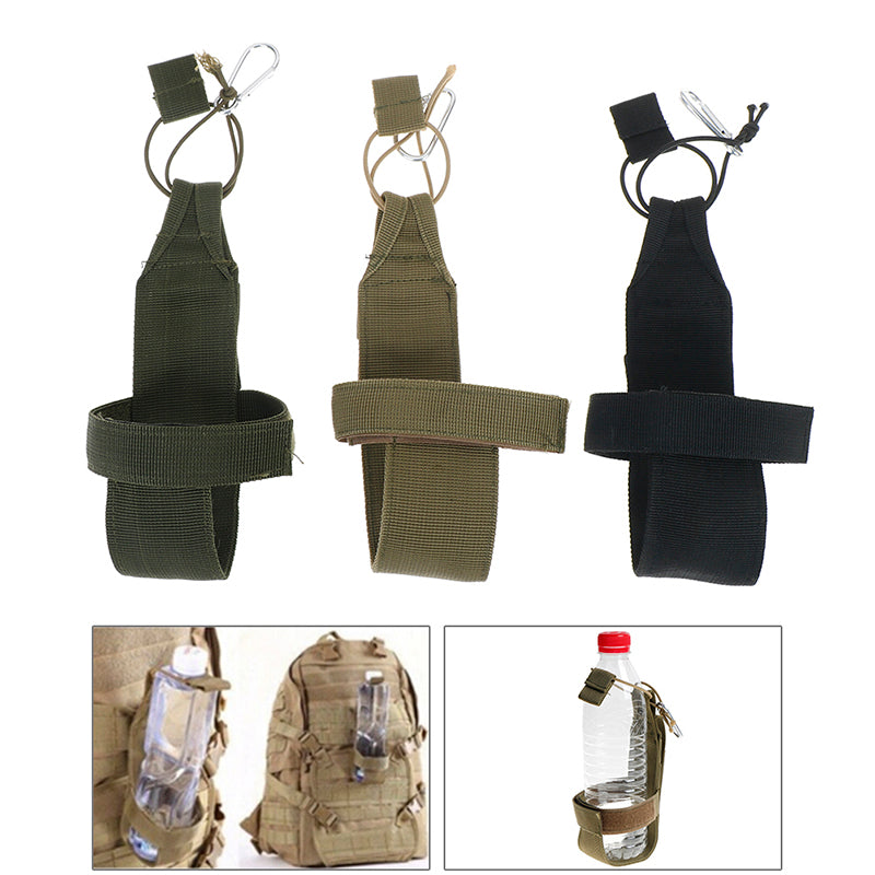Portable outdoor nylon travel tactical water bottle pouch adjustable magic tape