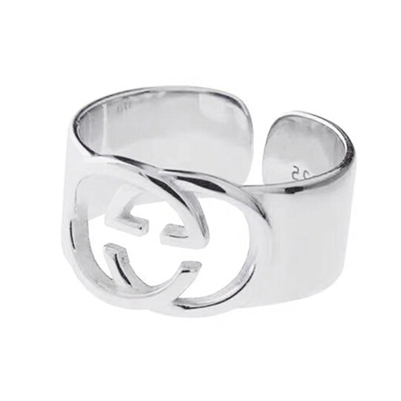 Simple smooth wide double GG ring open delicate finger ring for wedding