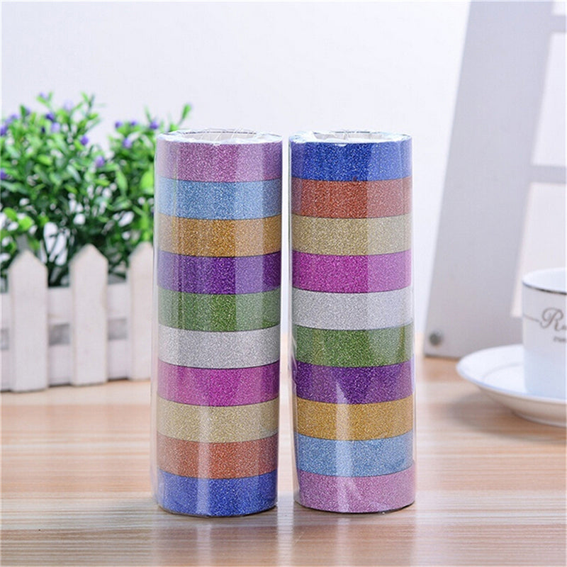 10pcs Glitter Washi Sticky Paper Masking Adhesive Tape Label DIY Craft Decorative