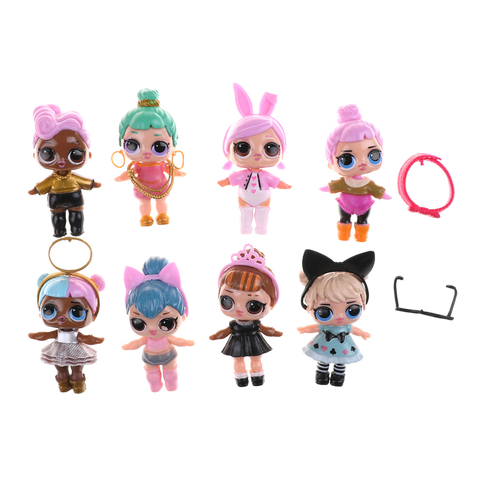 New 8pcs/set LOL Doll 8-9CM SURPRISE DOLL Baby Change Egg Figure Doll King Micro Toy
