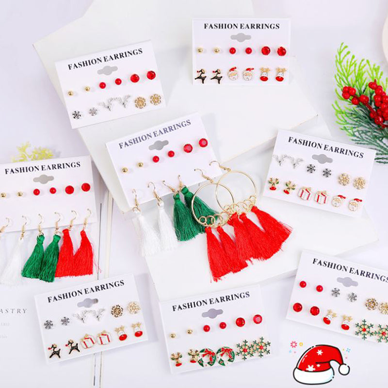 6Pairs/Set Fashion Women Mix Christmas Drop Dangle Earrings Jewelry Accessories