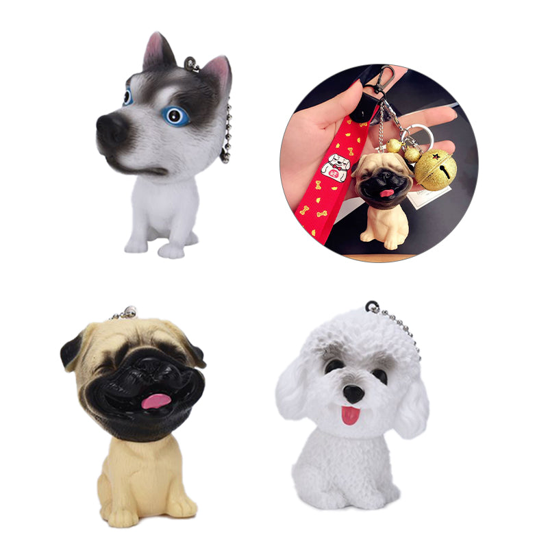 Fashion Cute Cartoon 3D Dog Key Chain Bag Car Accessories Keyring Pendant Gifts