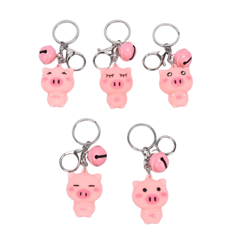 Fashion Cute Pink Three-Dimensional Pig Bell Key Chain Keyring Pendant Gifts