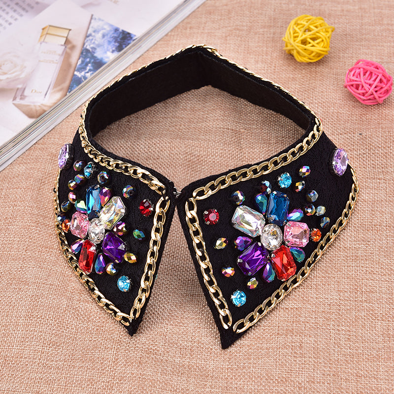 Rhinestone False Blouse Fake collar Detachable Lapel  Removable Accessories New