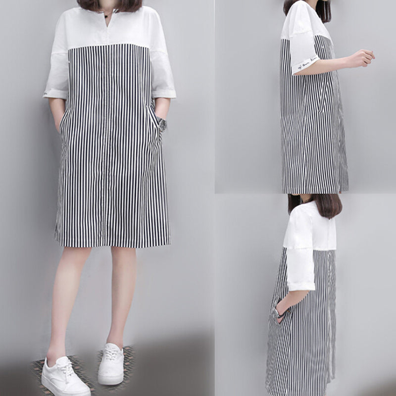 Women Patchwork Striped Dress Vintage V Neck Short Sleeve Casual A Line Dress