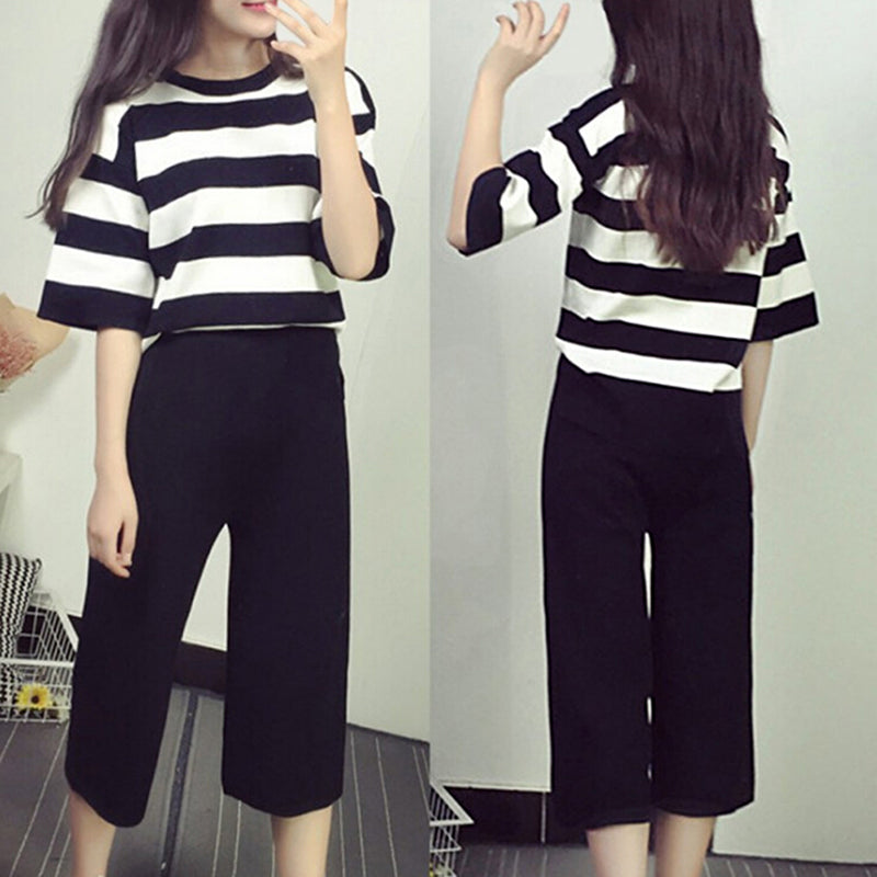 Women Fashion 2 Pieces Sets Loose Striped Tops Elastic Waist Wide Legs Pants