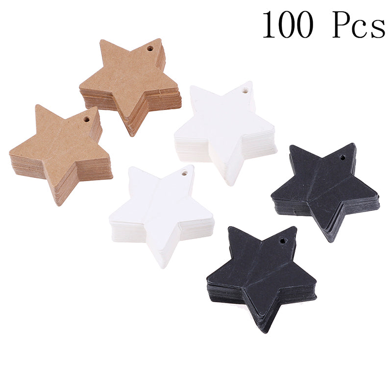 100Pcs Star Kraft Paper Label Price Wedding Party Gift Card Packaging Labels