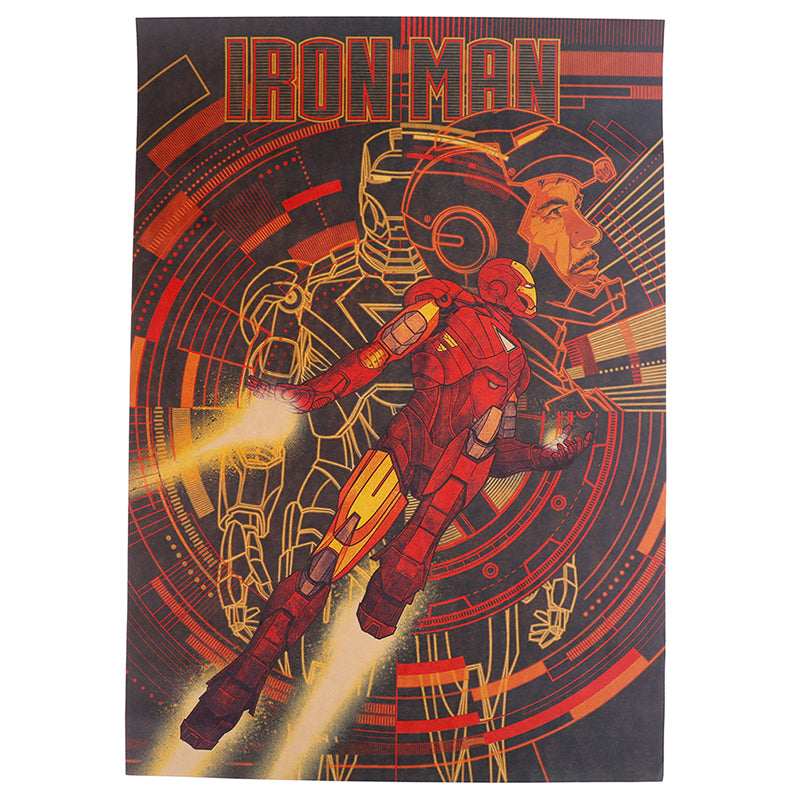 Marvel Comics Iron Man Poster Good Quality Painting Retro Poster Kraft Paper