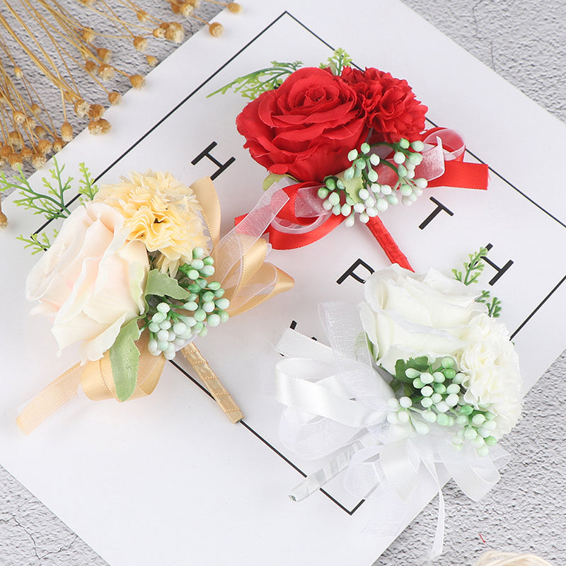 Silk Roses Boutonnieres Wedding Decoration Marriage Rose Pin Flowers for Guests